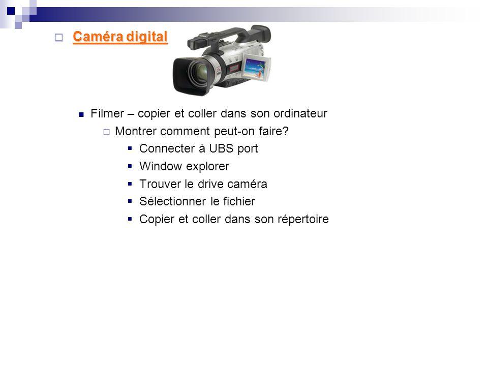  Vidéo CD et Vidéo DVD  Insérer le Cd vidéo ou le Dvd vidéo dans son lecteur  Montrer comment Copier et Coller un fichier vidéo dans son ordinateur