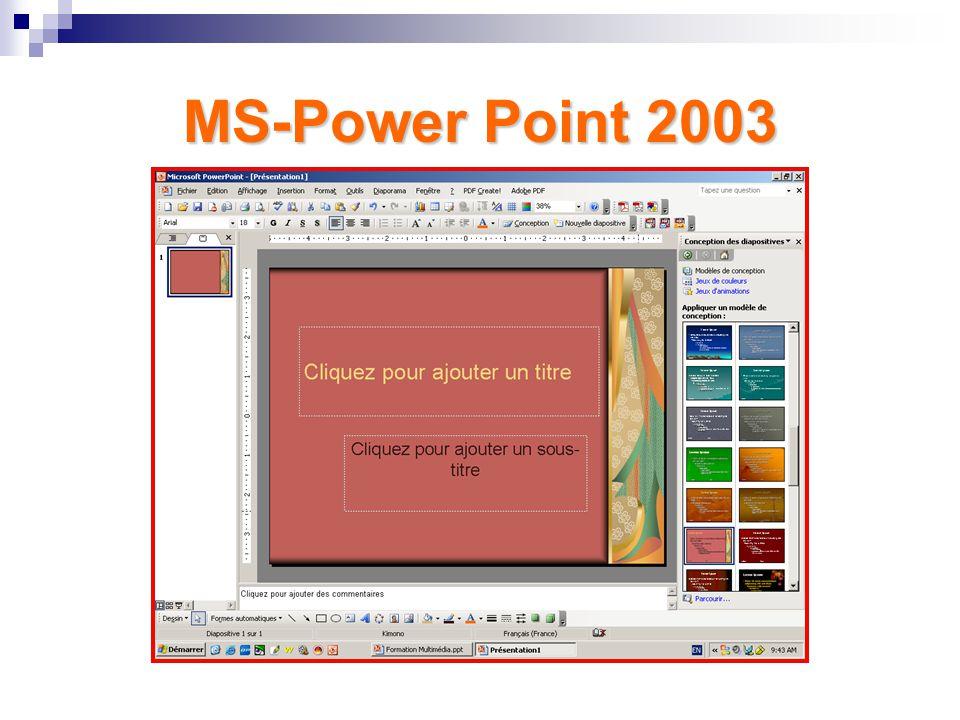 III. Troisième Partie – MS Power Point MS-Power Point 2003 – Présentation générale du programme Conseils pour une bonne présentation – Apprentissage à