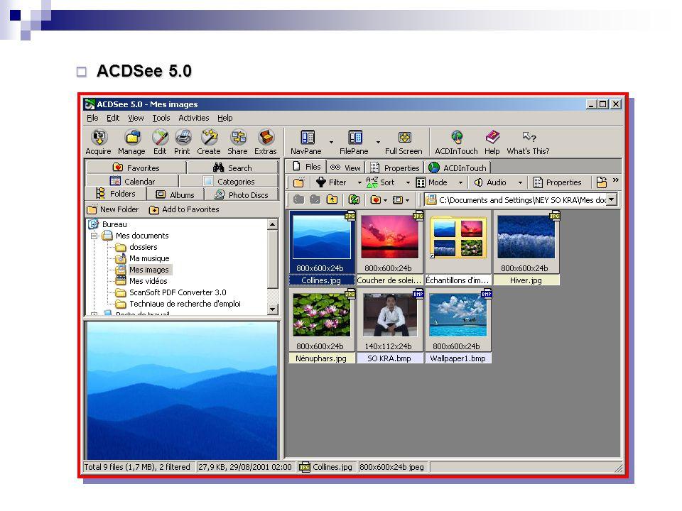 5. Les interfaces des logiciels Image Image  Adobe Photoshop CS