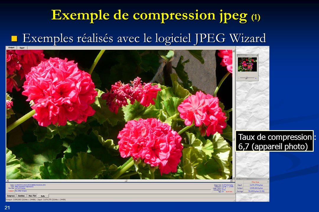22 Exemple de compression jpeg (2) Taux de compression : 57,8