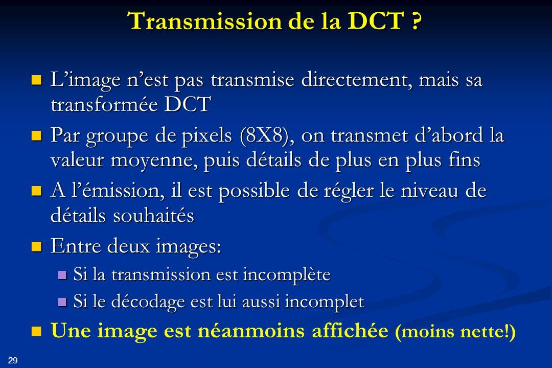 30 Conséquences: Un diffuseur peut choisir la qualité de sa transmission Un diffuseur peut choisir la qualité de sa transmission Si espace de stockage insuffisant (DVD), en réduisant la qualité de l'image une gravure reste possible Si espace de stockage insuffisant (DVD), en réduisant la qualité de l'image une gravure reste possible Diffusion par ADSL (débit fonction de la distance au central): une réception de l'image reste possible Diffusion par ADSL (débit fonction de la distance au central): une réception de l'image reste possible Décodage en réception: Décodage en réception: Tous les décodeurs ne se valent pas .
