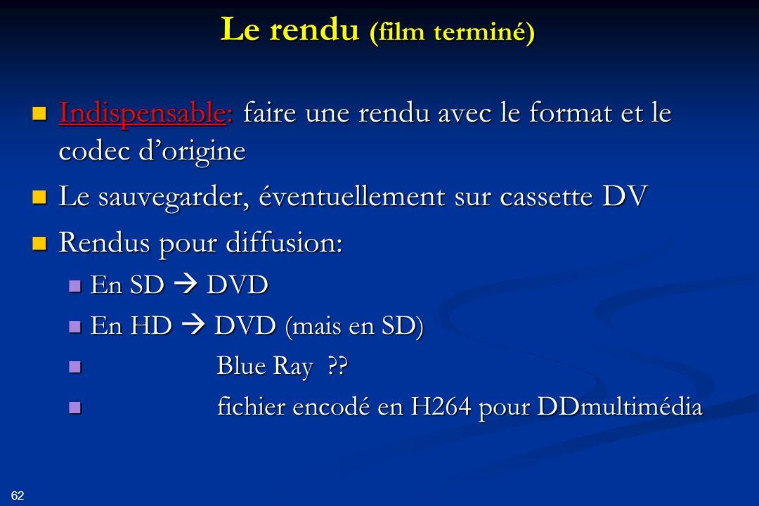 63 Création DVD Rappel: uniquement en SD (576 x 720) 4/3 ou 16/9 Rappel: uniquement en SD (576 x 720) 4/3 ou 16/9 Utilisation encodeur de qualité (ils ne se valent pas tous!) Utilisation encodeur de qualité (ils ne se valent pas tous!) Choisir option CBR (Constant Bit Rate), max 9Mbits/s Choisir option CBR (Constant Bit Rate), max 9Mbits/s Privilégier la qualité à la rapidité de conversion Privilégier la qualité à la rapidité de conversion Si espace insuffisant sur le DVD: Si espace insuffisant sur le DVD: Vérifier que le son est bien compressé (min de 128kbits/s) Vérifier que le son est bien compressé (min de 128kbits/s) Choisir option VBR (Variable Bit Rate), encodage plus lent, nécessite 2 passes Choisir option VBR (Variable Bit Rate), encodage plus lent, nécessite 2 passes Graver le DVD à la vitesse la plus lente possible Graver le DVD à la vitesse la plus lente possible N'utiliser que des DVD de marques reconnues (Maxcell, Verbatim,…) N'utiliser que des DVD de marques reconnues (Maxcell, Verbatim,…)