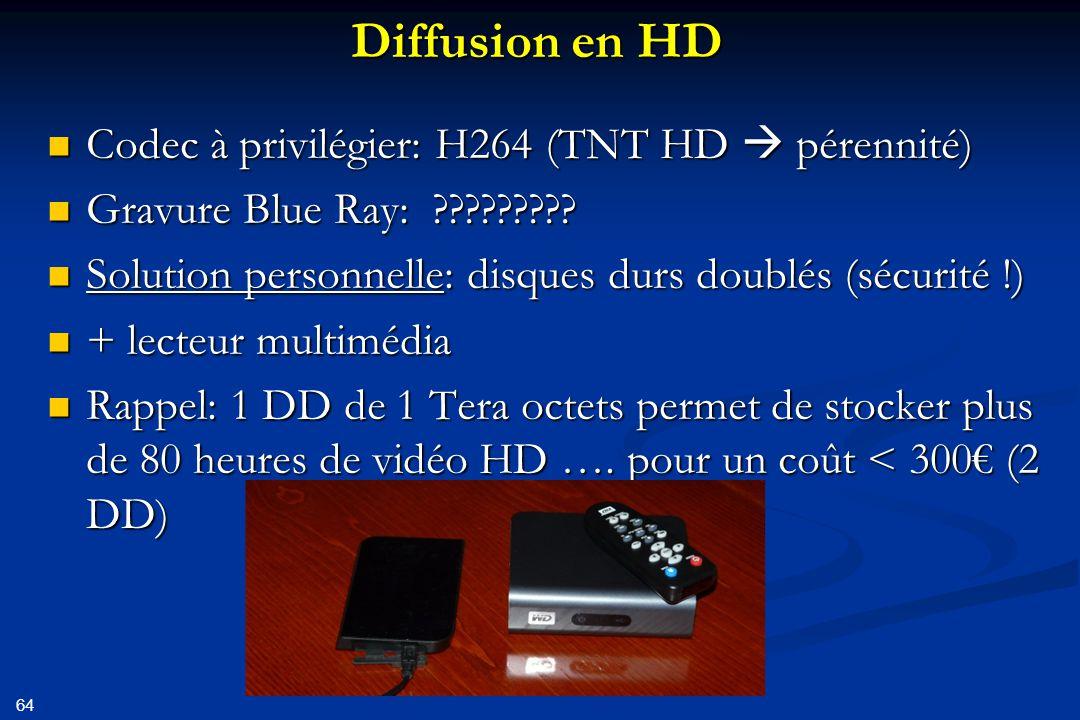 65 En conclusion: Toujours connaître le codec utilise (mediainfo) Toujours connaître le codec utilise (mediainfo) Éviter les transcodages, utiliser le moins de codecs possibles Éviter les transcodages, utiliser le moins de codecs possibles N'utiliser que des codecs normalisés en vidéo N'utiliser que des codecs normalisés en vidéo En SD: motionjpeg (Mjpeg) En SD: motionjpeg (Mjpeg) En HDV: mpeg2 En HDV: mpeg2 En AVCHD: H264 En AVCHD: H264 Proscrire les codecs « informatiques »(dvix, real, wmv,…) Proscrire les codecs « informatiques »(dvix, real, wmv,…) Utiliser des outils performants et de qualité Utiliser des outils performants et de qualité Vous maintiendrez ainsi la qualité d'origine de vos films