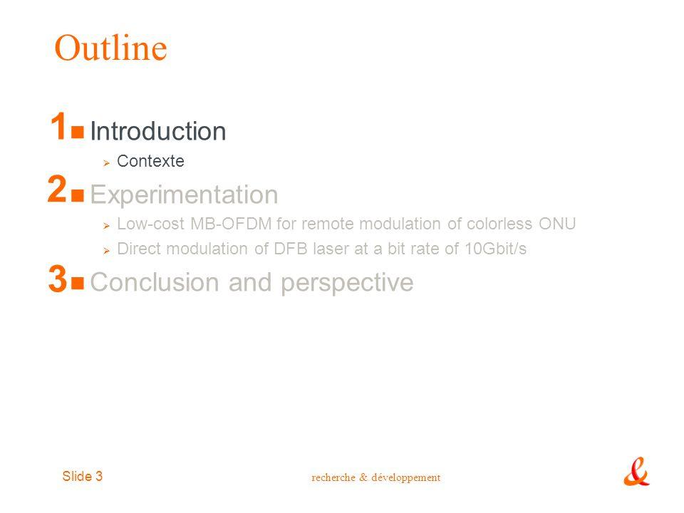 recherche & développement Slide 3 Outline Introduction  Contexte Experimentation  Low-cost MB-OFDM for remote modulation of colorless ONU  Direct m