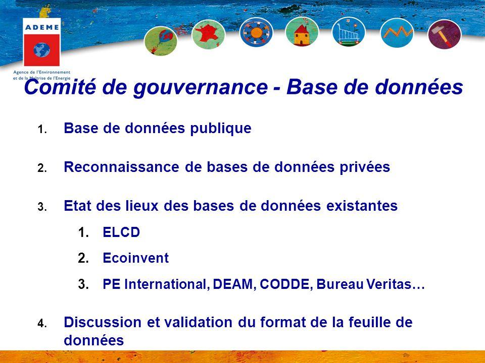 Comité de gouvernance - Base de données 1. Base de données publique 2. Reconnaissance de bases de données privées 3. Etat des lieux des bases de donné
