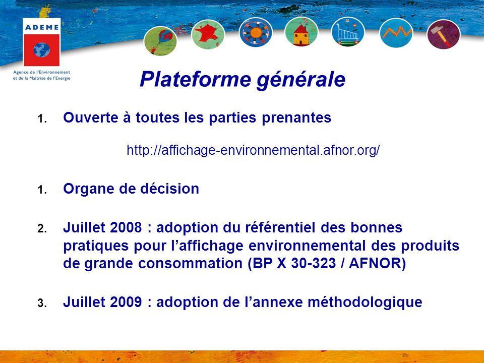1. Ouverte à toutes les parties prenantes http://affichage-environnemental.afnor.org/ 1. Organe de décision 2. Juillet 2008 : adoption du référentiel