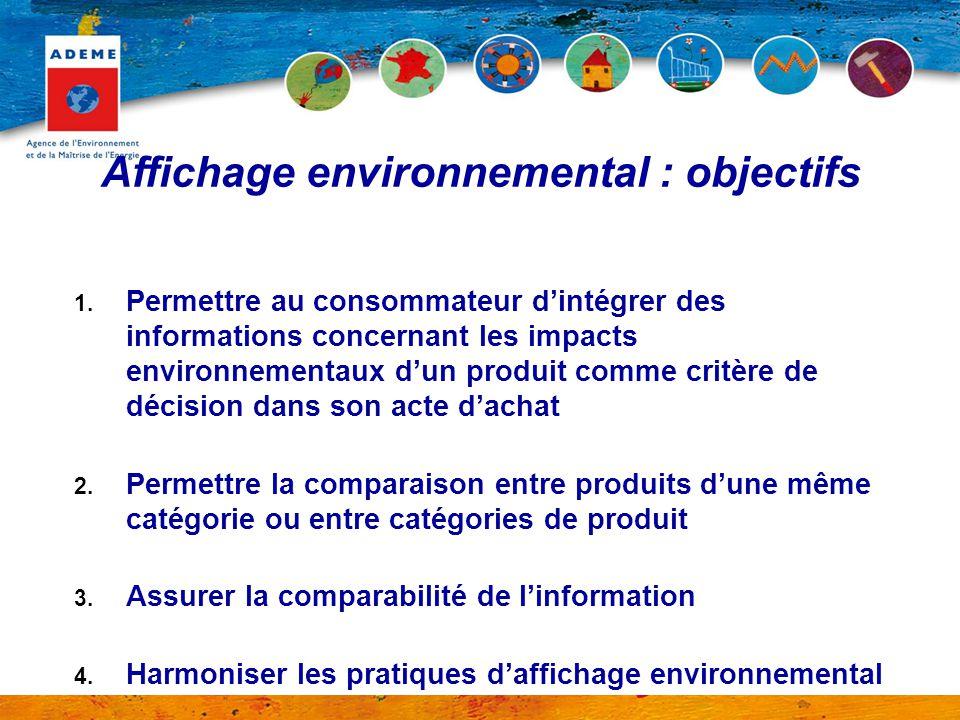 1. Permettre au consommateur d'intégrer des informations concernant les impacts environnementaux d'un produit comme critère de décision dans son acte