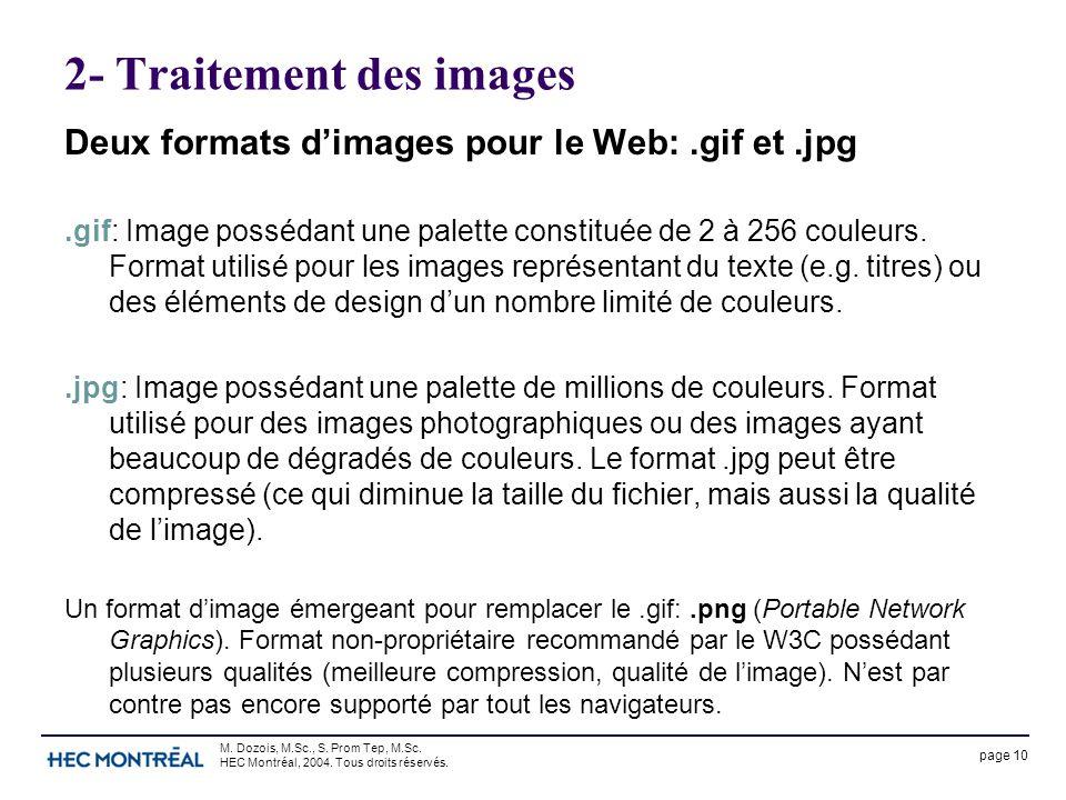 page 10 M. Dozois, M.Sc., S. Prom Tep, M.Sc. HEC Montréal, 2004. Tous droits réservés. 2- Traitement des images Deux formats d'images pour le Web:.gif