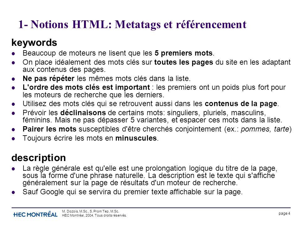 page 4 M. Dozois, M.Sc., S. Prom Tep, M.Sc. HEC Montréal, 2004. Tous droits réservés. 1- Notions HTML: Metatags et référencement keywords Beaucoup de
