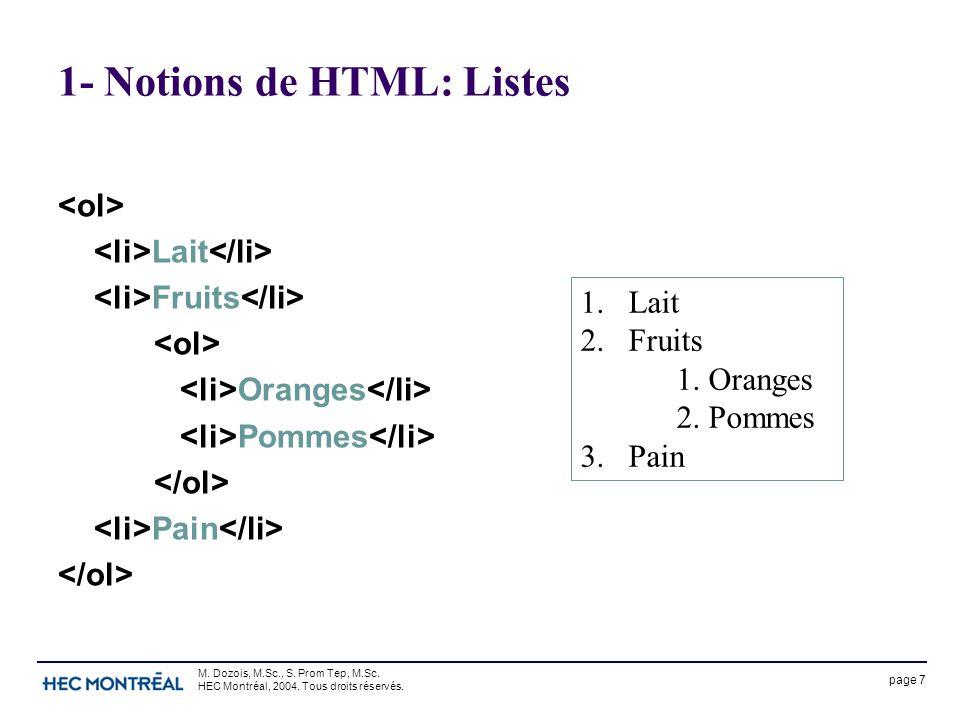 page 7 M. Dozois, M.Sc., S. Prom Tep, M.Sc. HEC Montréal, 2004. Tous droits réservés. 1- Notions de HTML: Listes Lait Fruits Oranges Pommes Pain 1.Lai