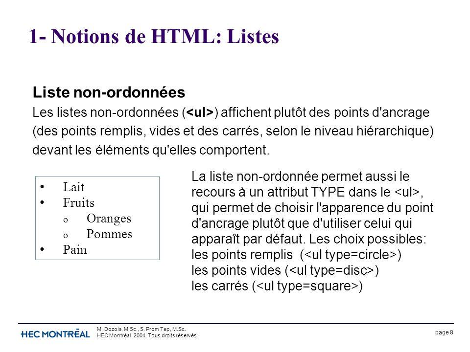 page 8 M. Dozois, M.Sc., S. Prom Tep, M.Sc. HEC Montréal, 2004. Tous droits réservés. 1- Notions de HTML: Listes Liste non-ordonnées Les listes non-or