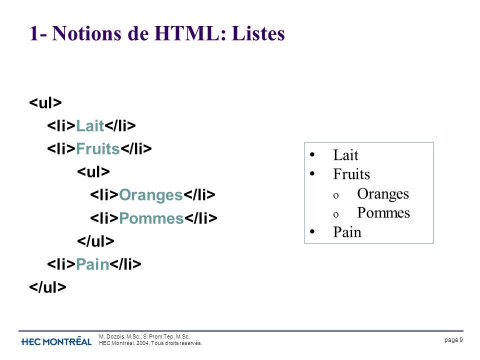 page 9 M. Dozois, M.Sc., S. Prom Tep, M.Sc. HEC Montréal, 2004. Tous droits réservés. 1- Notions de HTML: Listes Lait Fruits Oranges Pommes Pain Lait