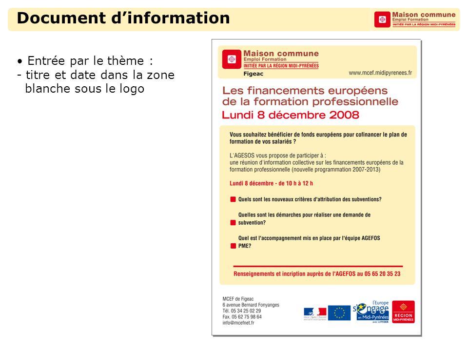 Document d'information Entrée par le thème : - titre et date dans la zone blanche sous le logo