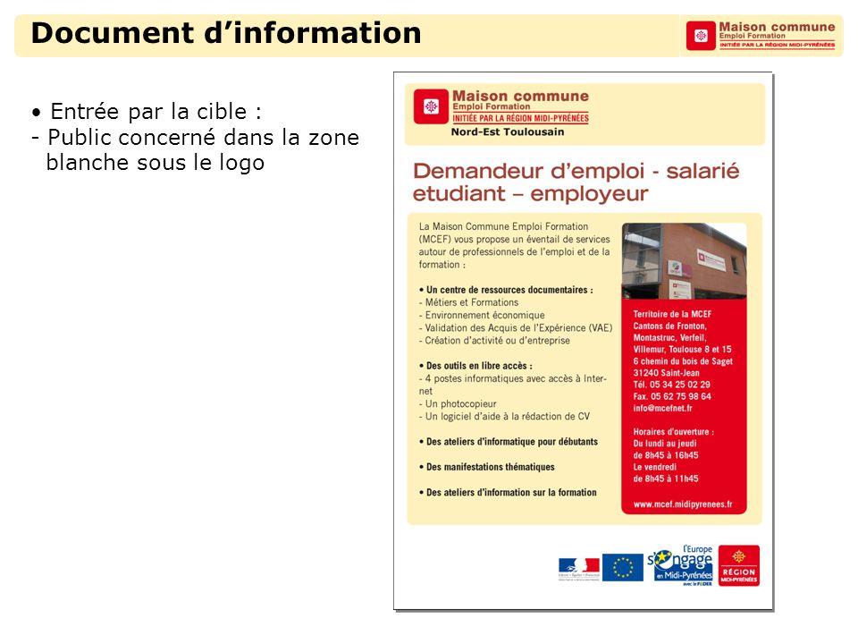 Document d'information Entrée par la cible : - Public concerné dans la zone blanche sous le logo