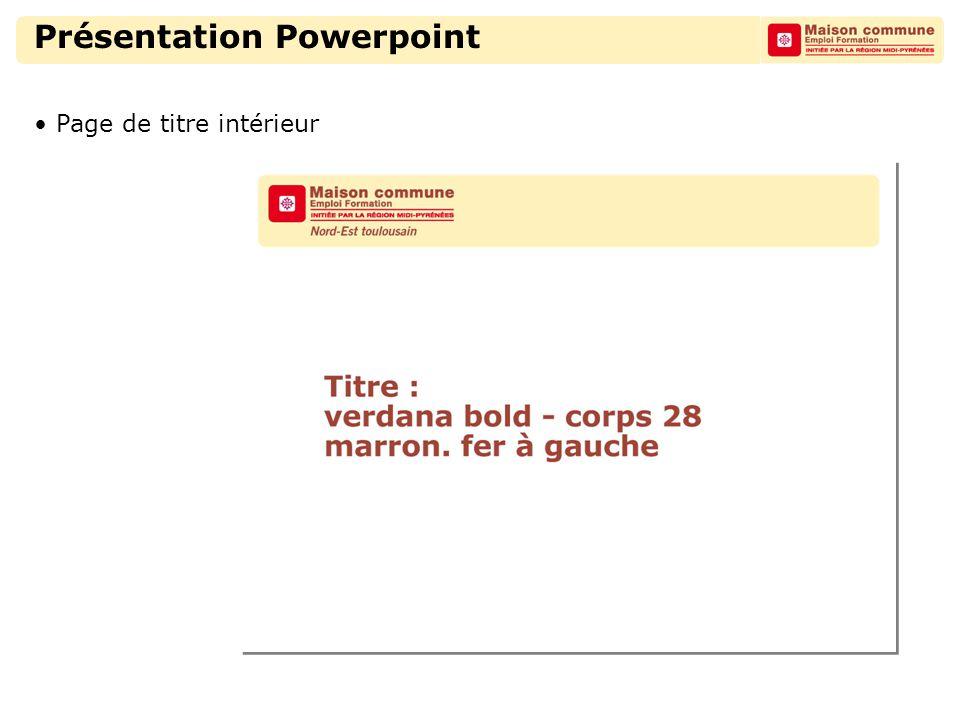 Présentation Powerpoint Page de titre intérieur