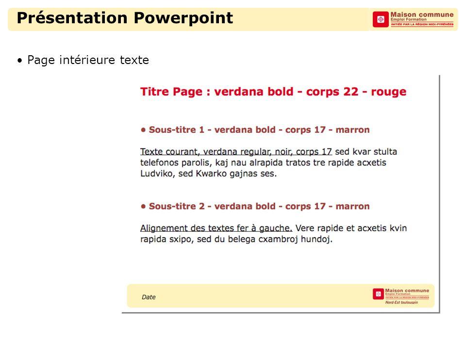 Présentation Powerpoint Page intérieure texte