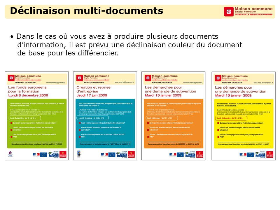 Déclinaison multi-documents Dans le cas où vous avez à produire plusieurs documents d'information, il est prévu une déclinaison couleur du document de base pour les différencier.