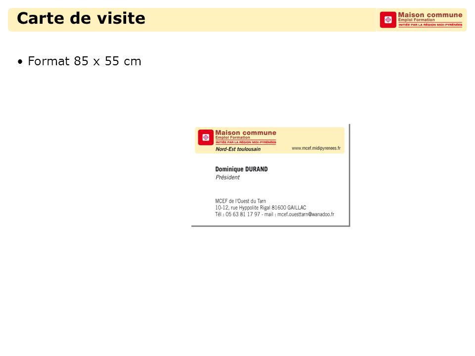 Carte de visite Format 85 x 55 cm