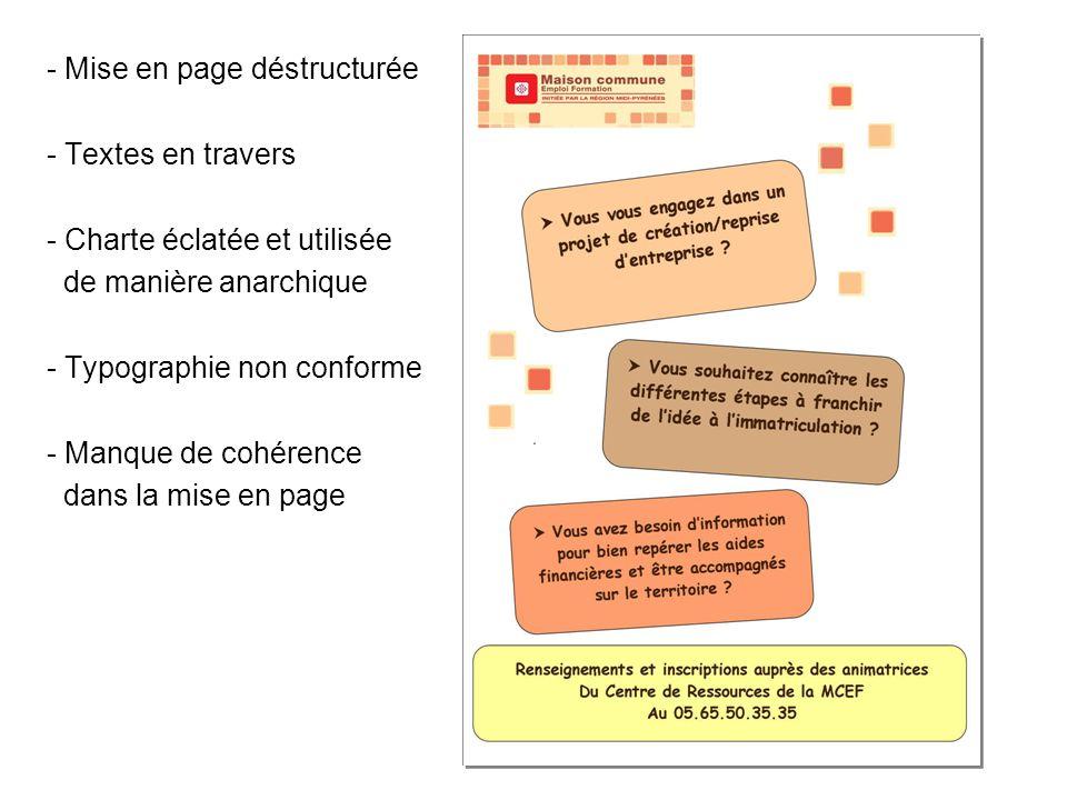 - Mise en page déstructurée - Textes en travers - Charte éclatée et utilisée de manière anarchique - Typographie non conforme - Manque de cohérence dans la mise en page