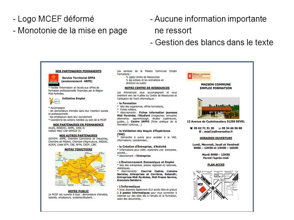 - Logo MCEF déformé - Monotonie de la mise en page - Aucune information importante ne ressort - Gestion des blancs dans le texte