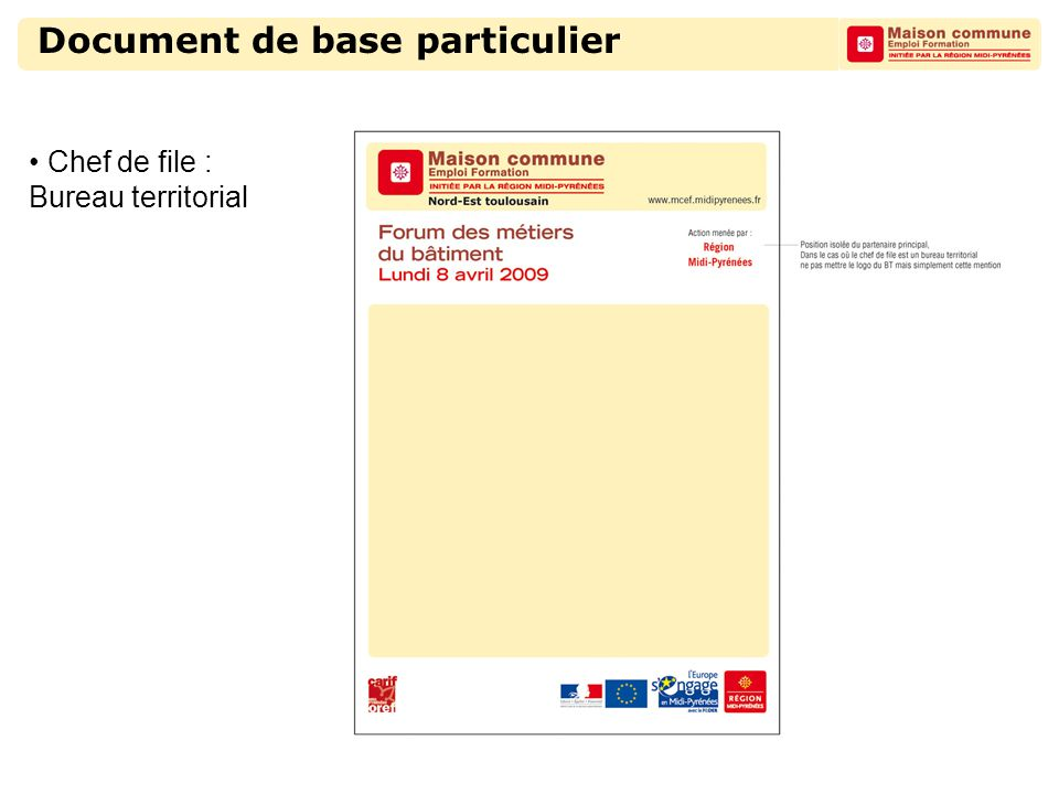 Document de base particulier Chef de file : Bureau territorial