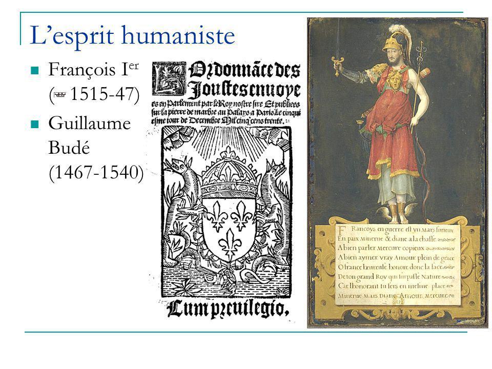 L'esprit humaniste François I er ( 1515-47) Guillaume Budé (1467-1540)