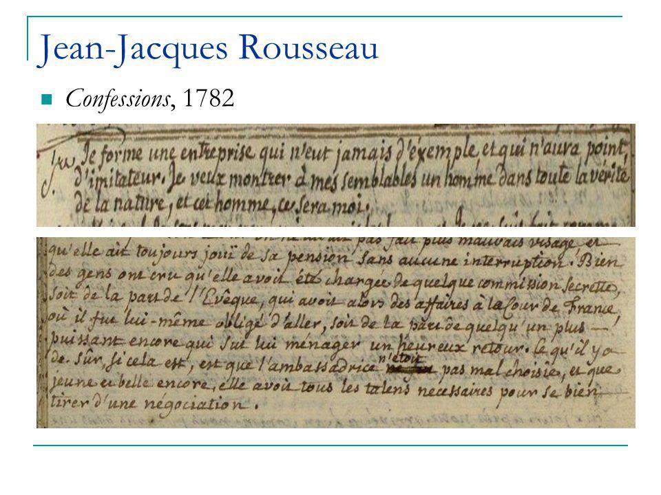 Jean-Jacques Rousseau Confessions, 1782