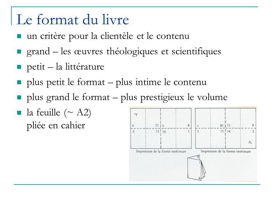 Le format du livre un critère pour la clientèle et le contenu grand – les œuvres théologiques et scientifiques petit – la littérature plus petit le format – plus intime le contenu plus grand le format – plus prestigieux le volume la feuille (~ A2) pliée en cahier