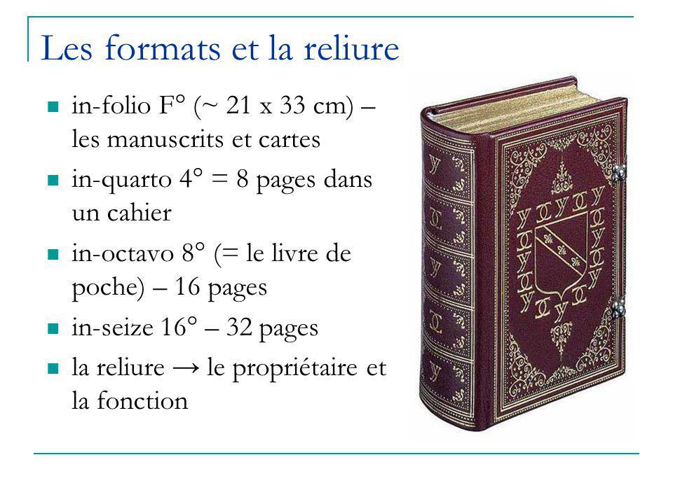 Les formats et la reliure in-folio F° (~ 21 x 33 cm) – les manuscrits et cartes in-quarto 4° = 8 pages dans un cahier in-octavo 8° (= le livre de poch