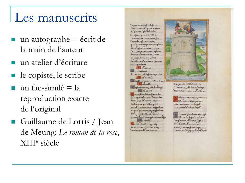 Les manuscrits un autographe = écrit de la main de l'auteur un atelier d'écriture le copiste, le scribe un fac-similé = la reproduction exacte de l'original Guillaume de Lorris / Jean de Meung: Le roman de la rose, XIII e siècle
