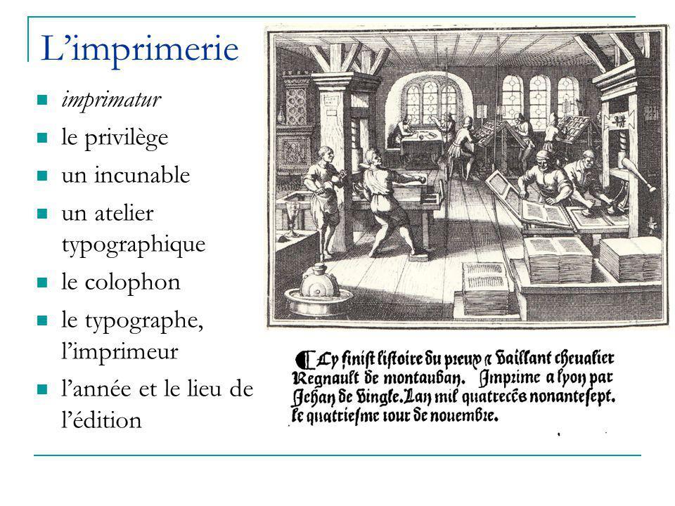 L'imprimerie imprimatur le privilège un incunable un atelier typographique le colophon le typographe, l'imprimeur l'année et le lieu de l'édition