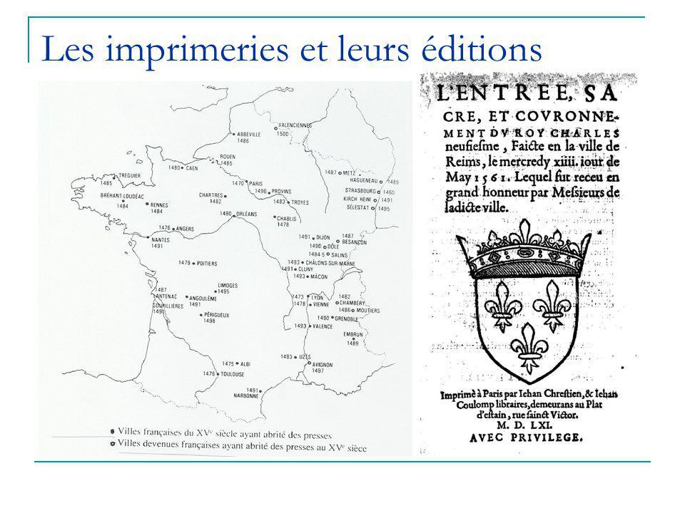 Les imprimeries et leurs éditions