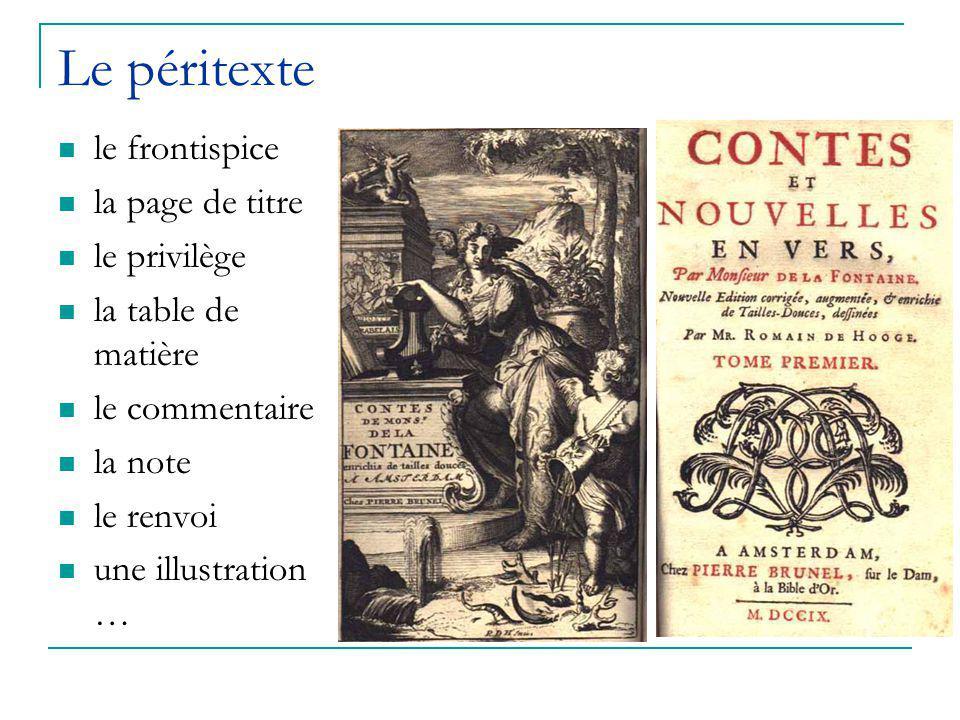 Le péritexte le frontispice la page de titre le privilège la table de matière le commentaire la note le renvoi une illustration …