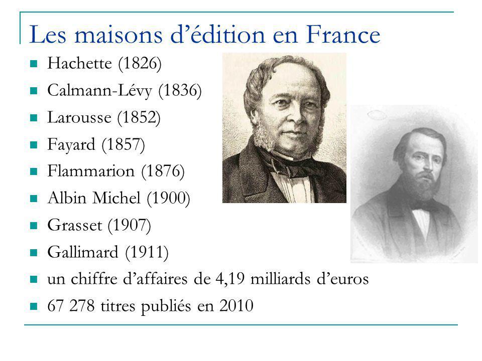 Les maisons d'édition en France Hachette (1826) Calmann-Lévy (1836) Larousse (1852) Fayard (1857) Flammarion (1876) Albin Michel (1900) Grasset (1907) Gallimard (1911) un chiffre d'affaires de 4,19 milliards d'euros 67 278 titres publiés en 2010