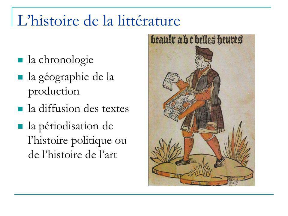 L'histoire de la littérature la chronologie la géographie de la production la diffusion des textes la périodisation de l'histoire politique ou de l'histoire de l'art