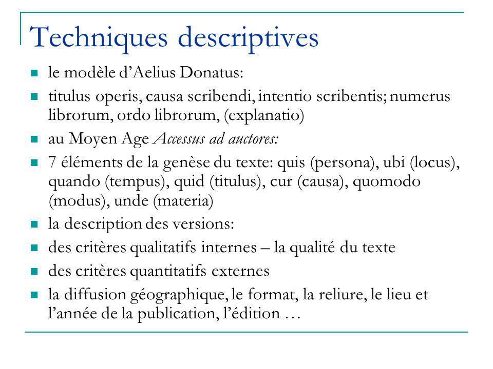 Techniques descriptives le modèle d'Aelius Donatus: titulus operis, causa scribendi, intentio scribentis; numerus librorum, ordo librorum, (explanatio) au Moyen Age Accessus ad auctores: 7 éléments de la genèse du texte: quis (persona), ubi (locus), quando (tempus), quid (titulus), cur (causa), quomodo (modus), unde (materia) la description des versions: des critères qualitatifs internes – la qualité du texte des critères quantitatifs externes la diffusion géographique, le format, la reliure, le lieu et l'année de la publication, l'édition …