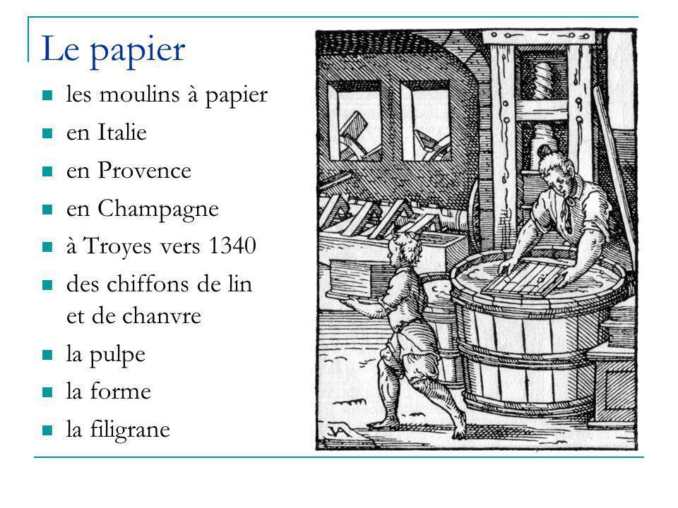 Le papier les moulins à papier en Italie en Provence en Champagne à Troyes vers 1340 des chiffons de lin et de chanvre la pulpe la forme la filigrane
