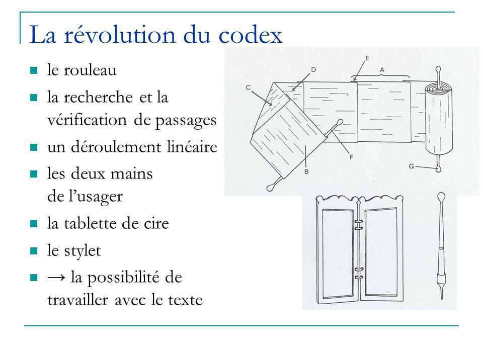 La révolution du codex le rouleau la recherche et la vérification de passages un déroulement linéaire les deux mains de l'usager la tablette de cire le stylet → la possibilité de travailler avec le texte