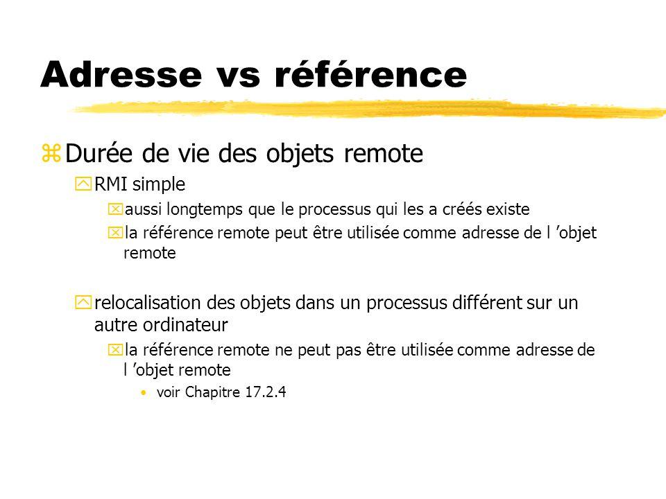 Adresse vs référence zDurée de vie des objets remote yRMI simple xaussi longtemps que le processus qui les a créés existe xla référence remote peut être utilisée comme adresse de l 'objet remote yrelocalisation des objets dans un processus différent sur un autre ordinateur xla référence remote ne peut pas être utilisée comme adresse de l 'objet remote voir Chapitre 17.2.4