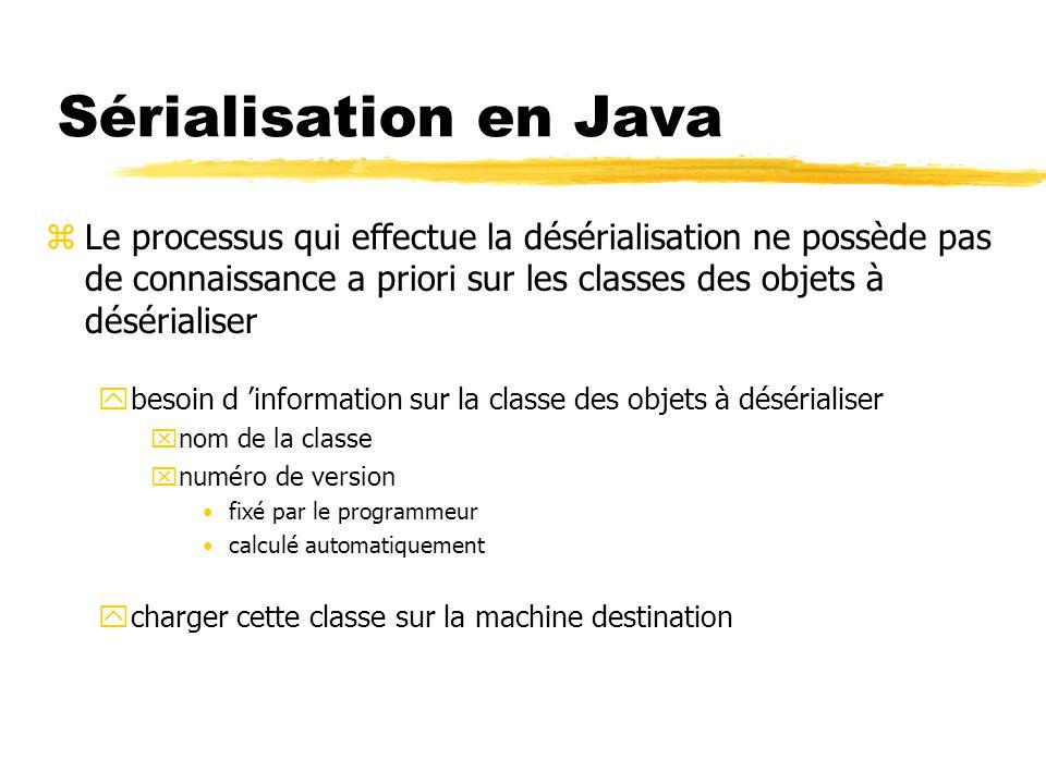 Sérialisation en Java zLe processus qui effectue la désérialisation ne possède pas de connaissance a priori sur les classes des objets à désérialiser ybesoin d 'information sur la classe des objets à désérialiser xnom de la classe xnuméro de version fixé par le programmeur calculé automatiquement ycharger cette classe sur la machine destination