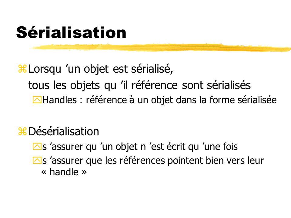 Sérialisation zLorsqu 'un objet est sérialisé, tous les objets qu 'il référence sont sérialisés yHandles : référence à un objet dans la forme sérialisée zDésérialisation ys 'assurer qu 'un objet n 'est écrit qu 'une fois ys 'assurer que les références pointent bien vers leur « handle »