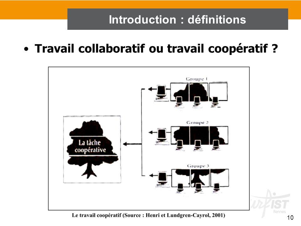 10 Travail collaboratif ou travail coopératif ? Introduction : définitions