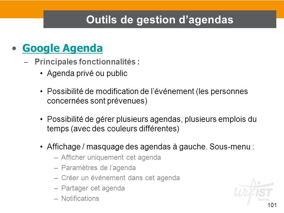 101 Google Agenda –Principales fonctionnalités : Agenda privé ou public Possibilité de modification de l'événement (les personnes concernées sont prév