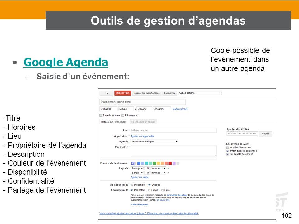 102 Google Agenda –Saisie d'un événement: Outils de gestion d'agendas -Titre - Horaires - Lieu - Propriétaire de l'agenda - Description - Couleur de l