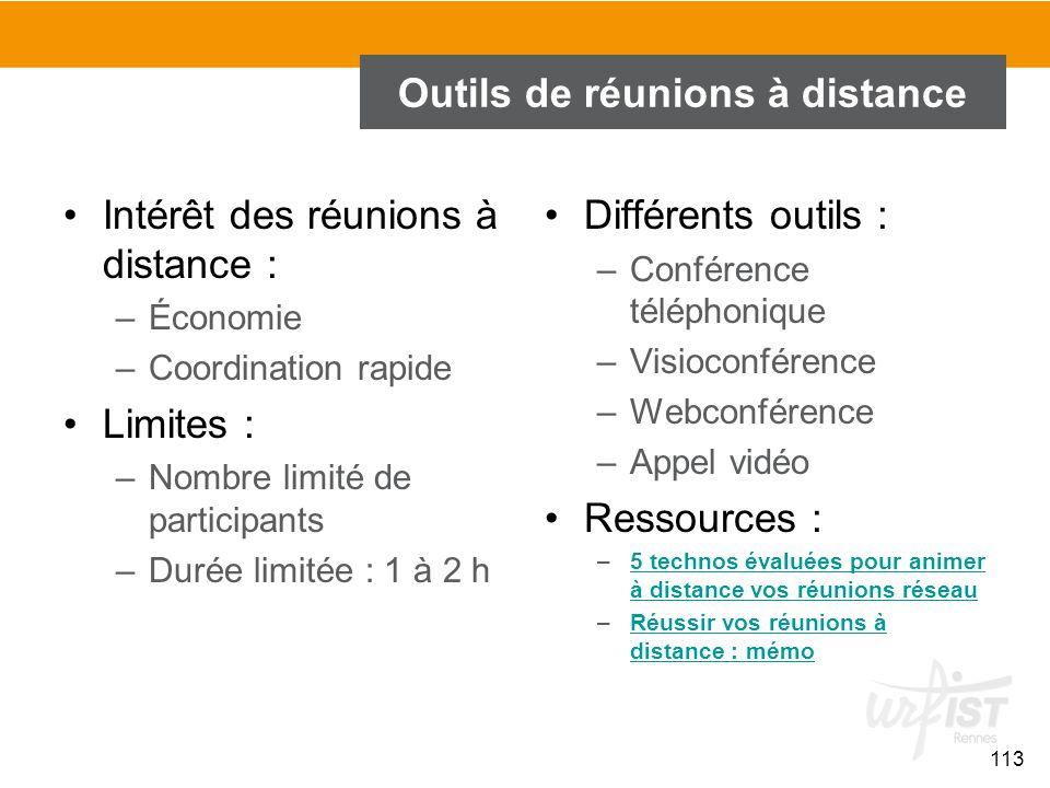 113 Outils de réunions à distance Intérêt des réunions à distance : –Économie –Coordination rapide Limites : –Nombre limité de participants –Durée lim