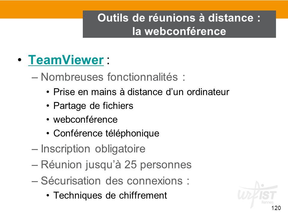120 TeamViewer :TeamViewer –Nombreuses fonctionnalités : Prise en mains à distance d'un ordinateur Partage de fichiers webconférence Conférence téléph