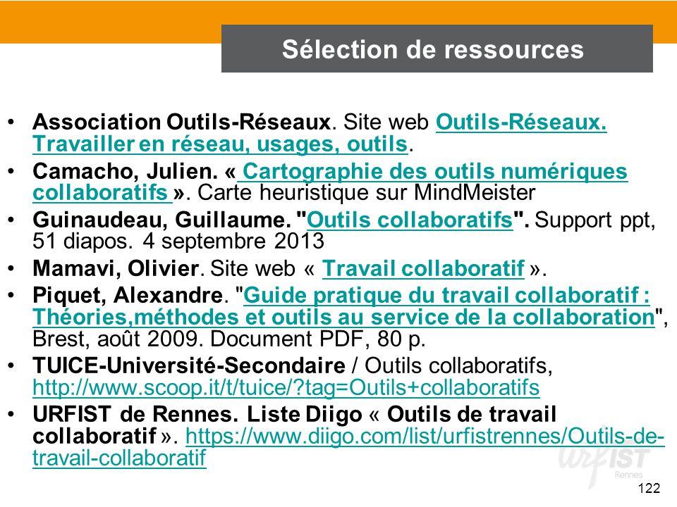 122 Sélection de ressources Association Outils-Réseaux. Site web Outils-Réseaux. Travailler en réseau, usages, outils.Outils-Réseaux. Travailler en ré