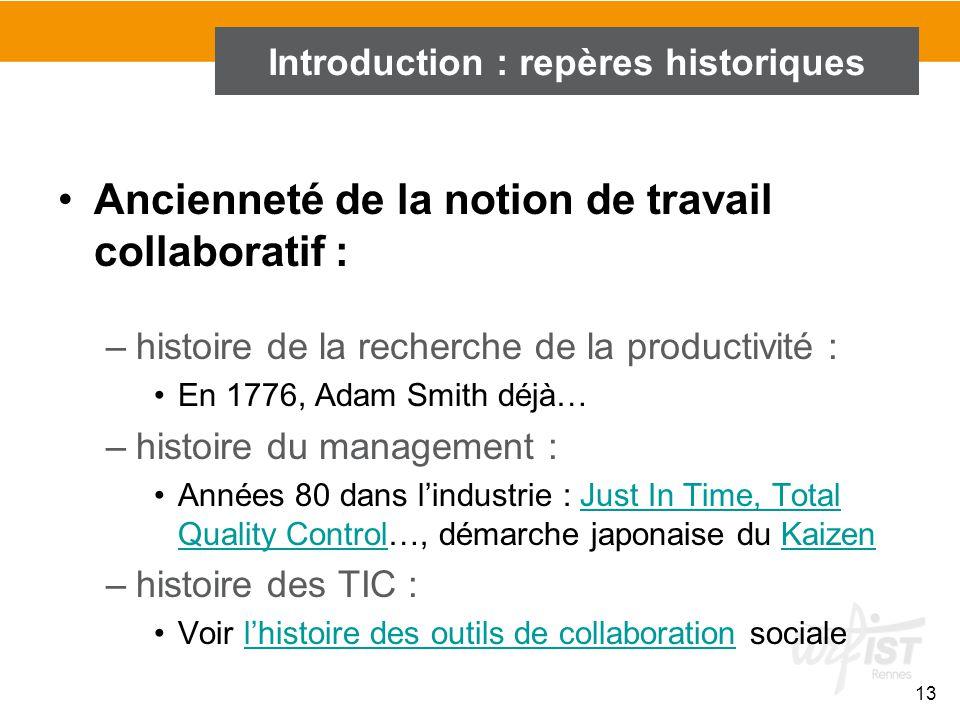 13 Ancienneté de la notion de travail collaboratif : –histoire de la recherche de la productivité : En 1776, Adam Smith déjà… –histoire du management