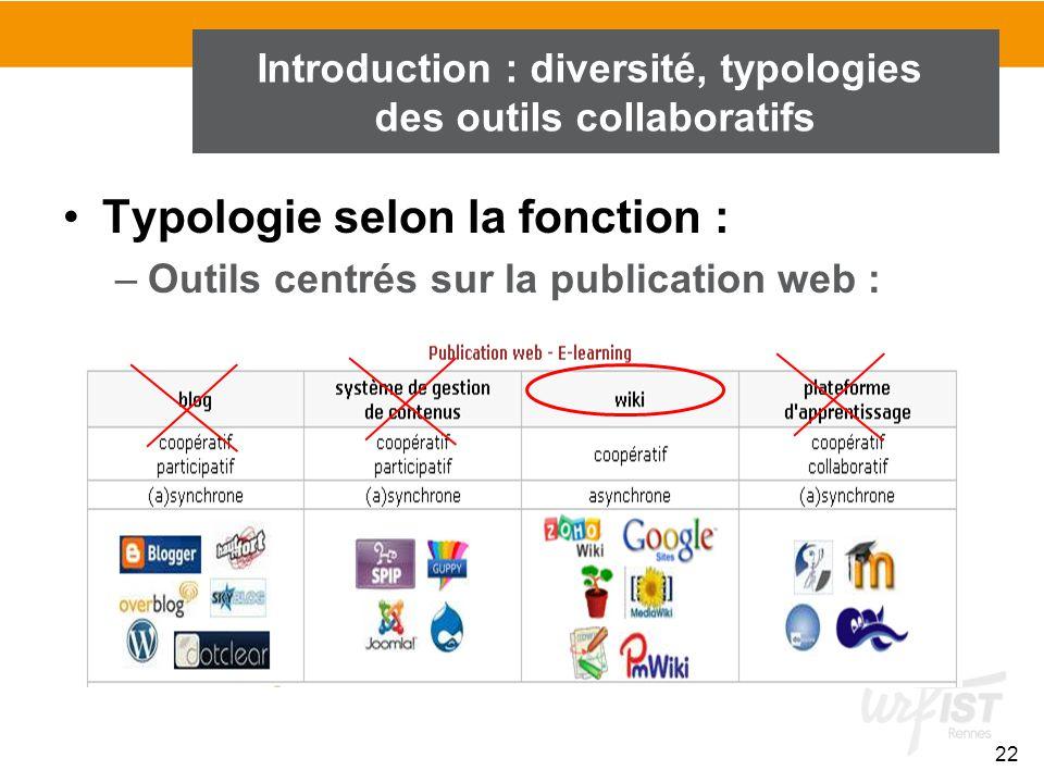 22 Introduction : diversité, typologies des outils collaboratifs Typologie selon la fonction : –Outils centrés sur la publication web :