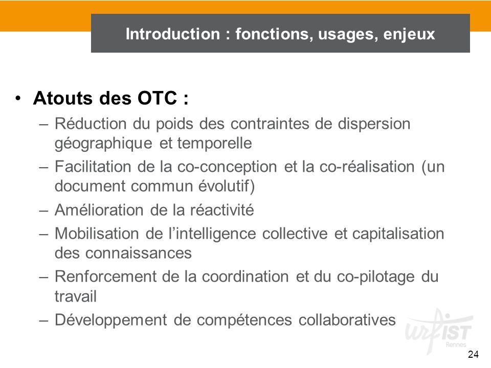 24 Introduction : fonctions, usages, enjeux Atouts des OTC : –Réduction du poids des contraintes de dispersion géographique et temporelle –Facilitatio